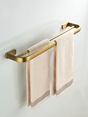 Flybath Towel Rail Bar Double Layer Brass Antique Holder Wall Mounted Brushed Bronze Amazon Co Uk Diy Tools