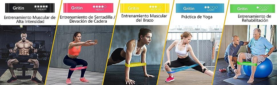 Gritin Bandas Elasticas de Fitness/Bandas de Resistencia, [Set de ...