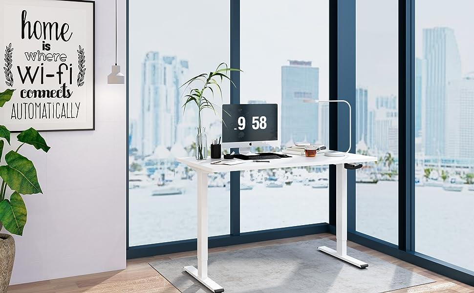 Grigio FLEXISPOT H1S Telaio da Scrivania Elettrica Altezza Regolabile Manuale Postazione di Lavoro Ergonomica Robusta e Resistente a 2 Livelli in Acciaio Estendibile 85-129cm