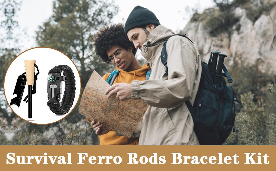 Survival Ferro Rods Bracelet Kit