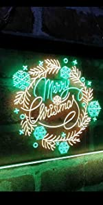 ADVPRO Dual Color LED Neon Sign light Merry Christmas Xmas wreath big font text warm atmosphere