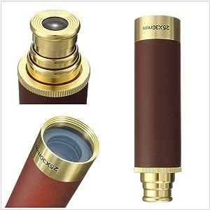 Retro Pirate Telescope Zoomable Brass Spyglass Portable Collapsible Handheld Telescope Monocular