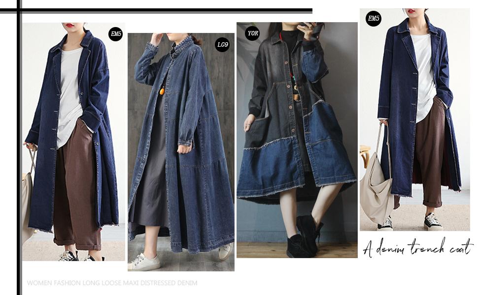 Women Fashion Long Loose Maxi Distressed Denim Trench Jacket Coat Casual Plus Size Lapel Fringed Cut Large Hem