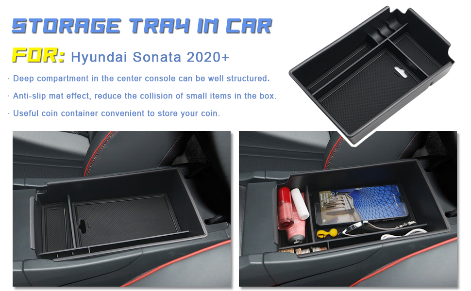Vesul Armrest Secondary Storage Box Central Console Tray Glove Pallet Container Organizers Compatible with Hyundai Sonata 2015 2016 2017 2018 2019