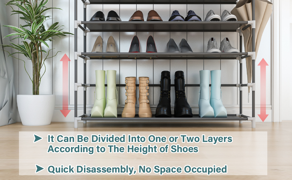 Shoe Organizer,Closet Shoe Organizer, Shoe Tower Cabinet Stackable Shelves Holds 20-25 Pairs