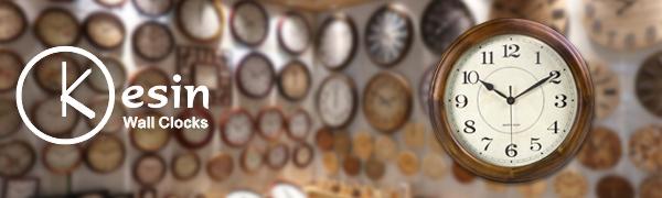 14 inch wooden retro wall clock