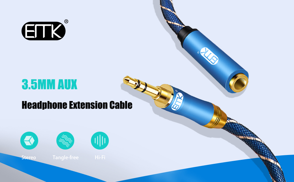 Headphone Extension Cable 3m EMK 3.5mm Audio Extension Cable Male to Female 24K Gold-Plated,Hi-Fi Sound Nylon-Braided Stereo Audio Extension Cord for Smartphone,Tablets,MP3 Players and More