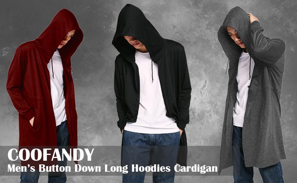 d4d81c13 COOFANDY Men's Fashion Long Hooded Outwear Hoody Sweatshirt Teenager ...