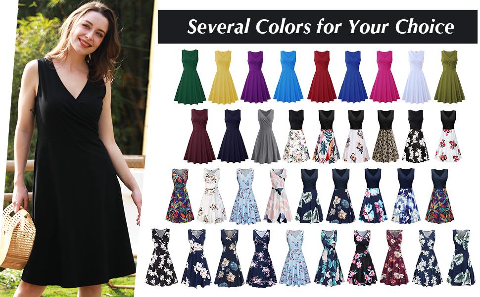 KILIG Women's V Neck Sleeveless Summer Casual Midi Dress