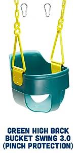Green High Back Bucket Swing 3.0