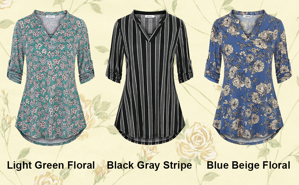 Helloacc Womens Notch Neck Floral Tunic Shirts 3//4 Roll Sleeve Work Casual Tops