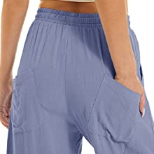 sweatpants cotton linen wide leg novelty drawstring yoga pants with pockets purple women's