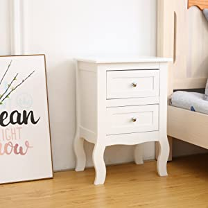 White bedside cabinet angled look