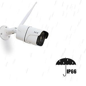 Telecamera Wi-Fi Esterno FHD 1080P, H+Y Telecamere di Sorveglianza WiFi Senza fili 2.4G WiFi, Telecamere IP HD per Visione Notturna, Telecamere di Sicurezza con Rilevazione di Movimento