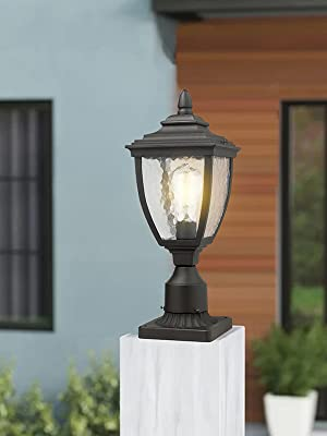 Outdoor Post Light Beionxii 1-Light Vintage Exterior Post Lantern Black