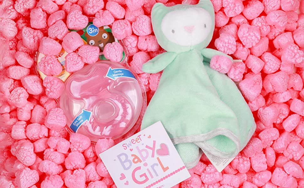 small pink heart shaped packing peanuts for baby shower gifts