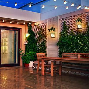 backyard wall decor lights