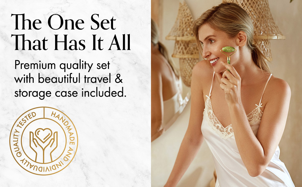 real natural xuiyan jade roller and gua sha set for face eye body women gift anti aging massage tool