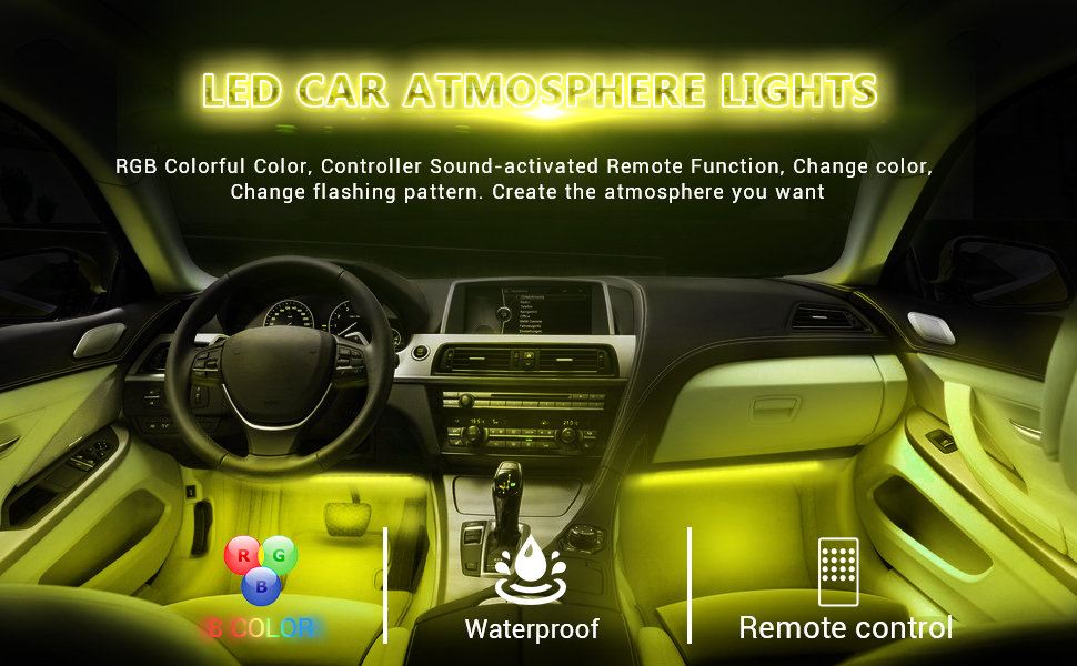 mit Zigarettenanz/ünder LED Innenbeleuchtung Auto OTHWAY Auto-LED-Lichtleiste 12V wasserdicht 4 St/ück 48 LEDs Bluetooth APP-gesteuerte Beleuchtungss/ätze Auto-LED-Leuchten Interieur