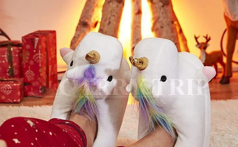 unicorn plush slipper