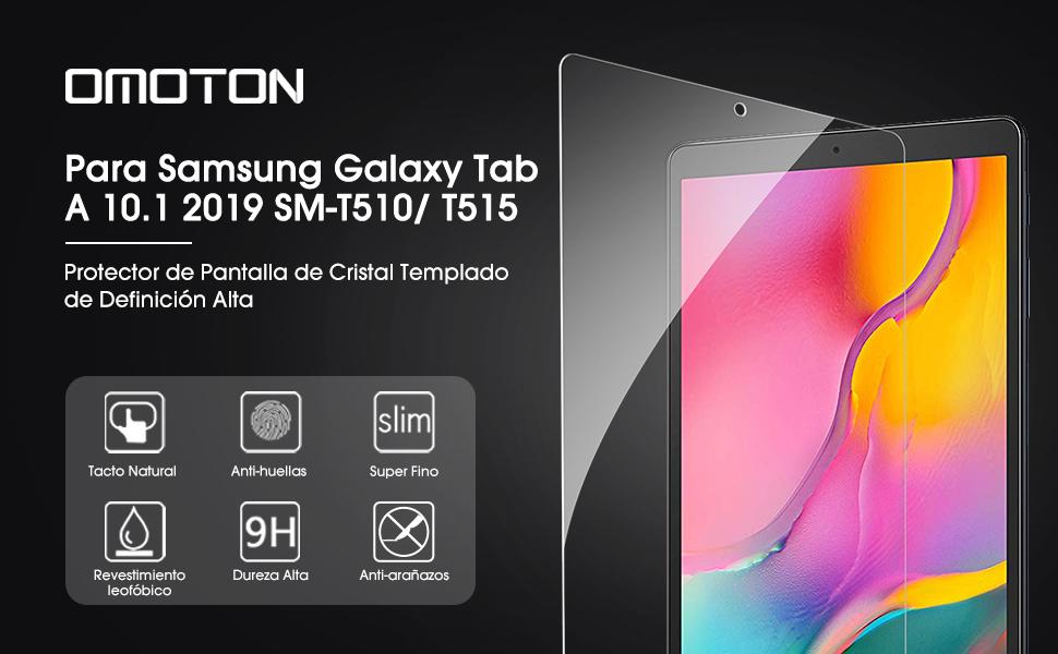 2 Piezas No Burbujas Anti-ara/ñazos OMOTON Protector Pantalla Samsung Galaxy Tab A 10.1 T510// T515 2019 Cristal Templado Samsung Tab A 10.1 2019 SM-T510// T515 2.5D Borde