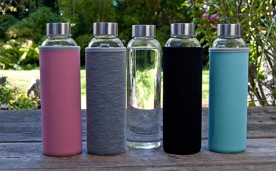 Wasserflasche Glasflasche Klar Wasser Flasche Sport Wasser Flasche Wasserflasche Glas Flasche F/ür Getr/änke und Saft Sport Getr/änke Flaschen
