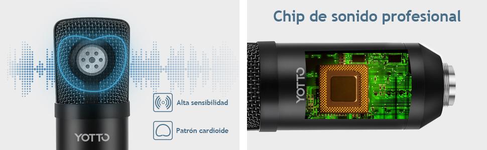 YOTTO USB Micrófono de condensador cardioide Micrófono para ...