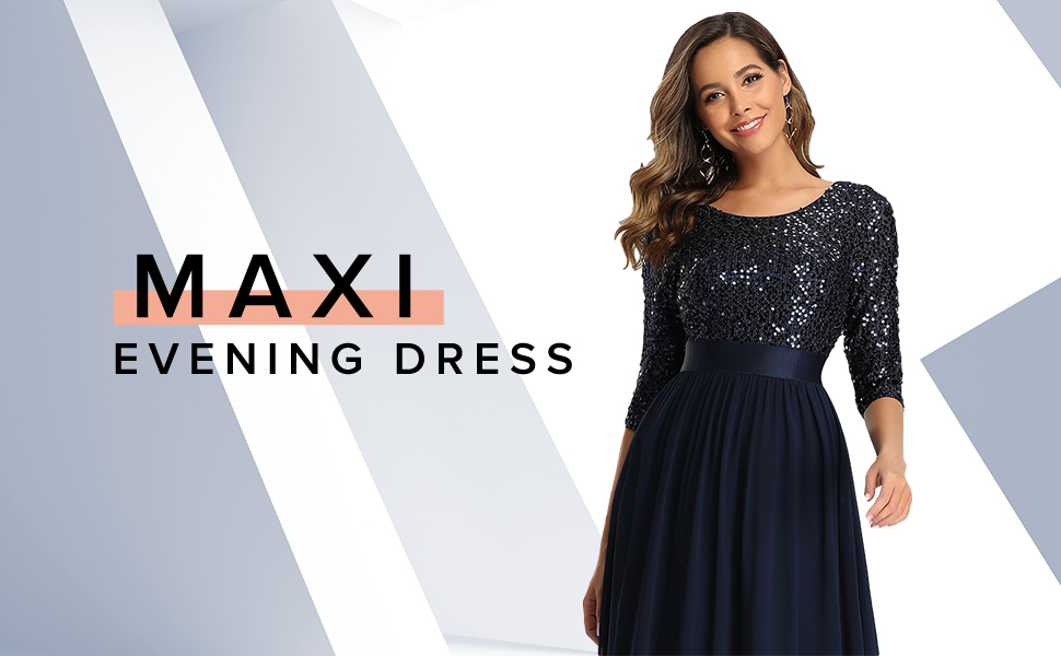 Ever-Pretty Womens long formal dresses for evening party  plus size cocktail dresses with sleeves