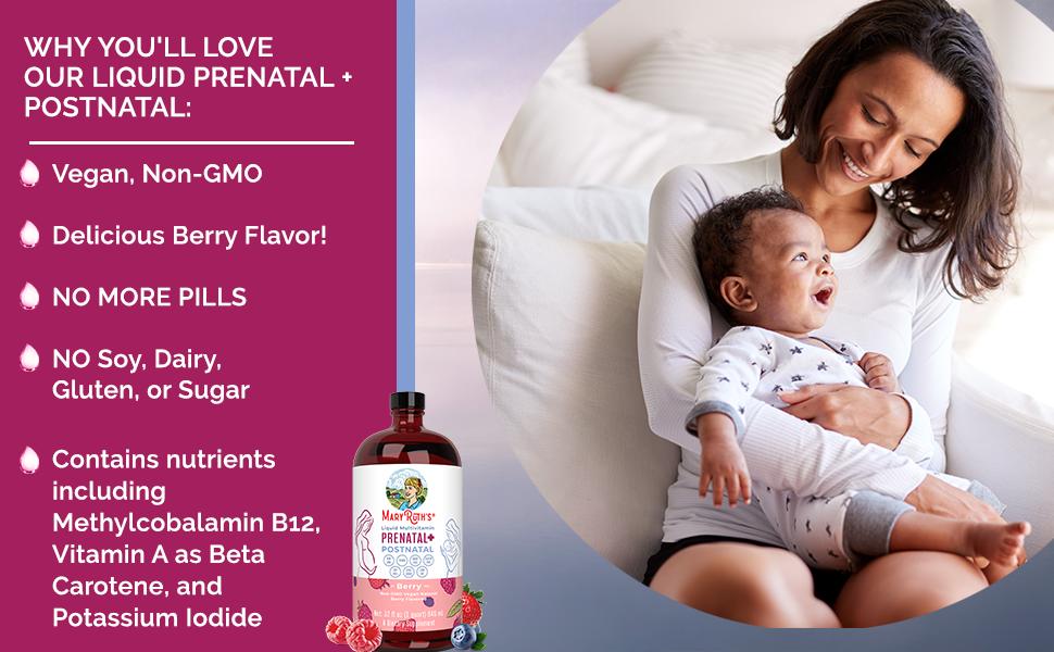 Prenatal, Postnatal, Liquid, multivitamin