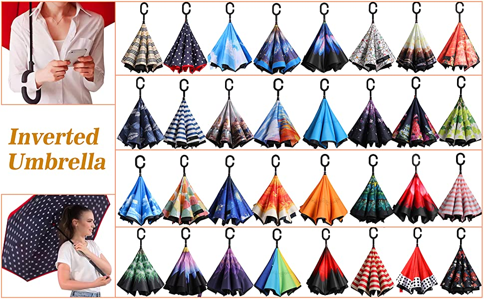 Double Layer Inverted Inverted Umbrella Is Light And Sturdy Japanese Style Folding Fan Pattern Reverse Umbrella And Windproof Umbrella Edge Night Ref