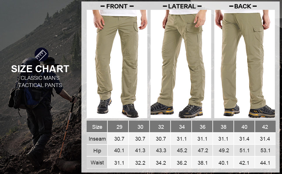 Men's Outdoor Adventure Pants Hiking Camping Durable UPF 50+ Quick Dry Cargo Trousers