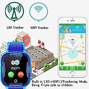 Boys Girls Waterproof Watch with GPS Locator 2 Way Call Camera Voice Birthday Back to School Gifts