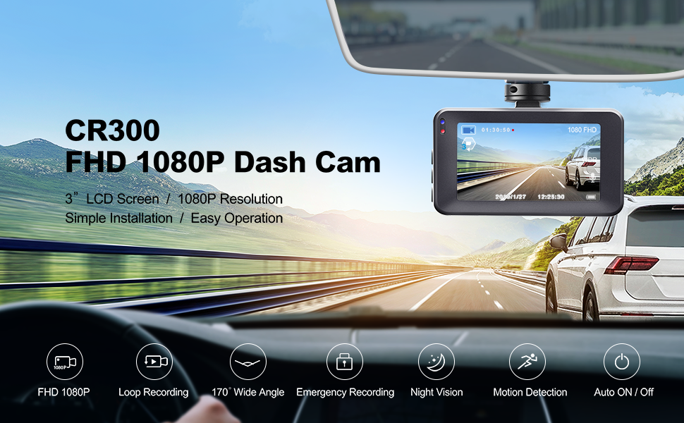 Amazon Com Dash Cam Crosstour 1080p Car Dvr Dashboard Camera