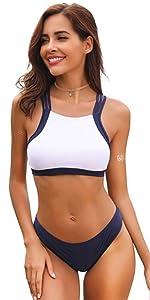SHEKINI Mujeres Trajes de Baño Cuello Alto Impresión Stripe ...