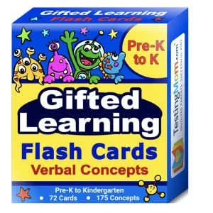 Gifted Learning Flash Cards Verbal Concepts TestingMom Pre-K to K, Kindergarten Flash Cards
