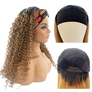 """Glueless Human Hair Wigs with Black Headband Non Lace Front Wigs Long 20"""" Curly Wave Wigs for Women"""