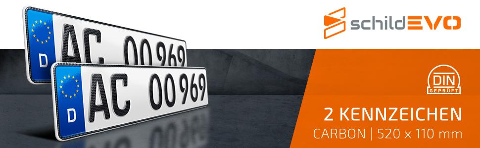 Schildevo 2 Carbon Kfz Kennzeichen 520 X 110 Mm Offiziell Amtliche Nummernschilder Din Zertifiziert Eu Wunschkennzeichen Mit Individueller Prägung Autokennzeichen Auto