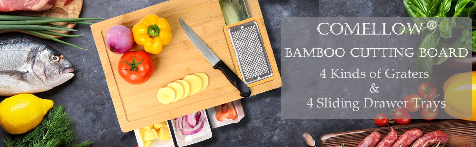 bamboo cutting board with trys