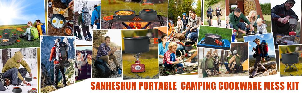 18PCS Outdoor Ultralight Camping Cookware Mess Kit