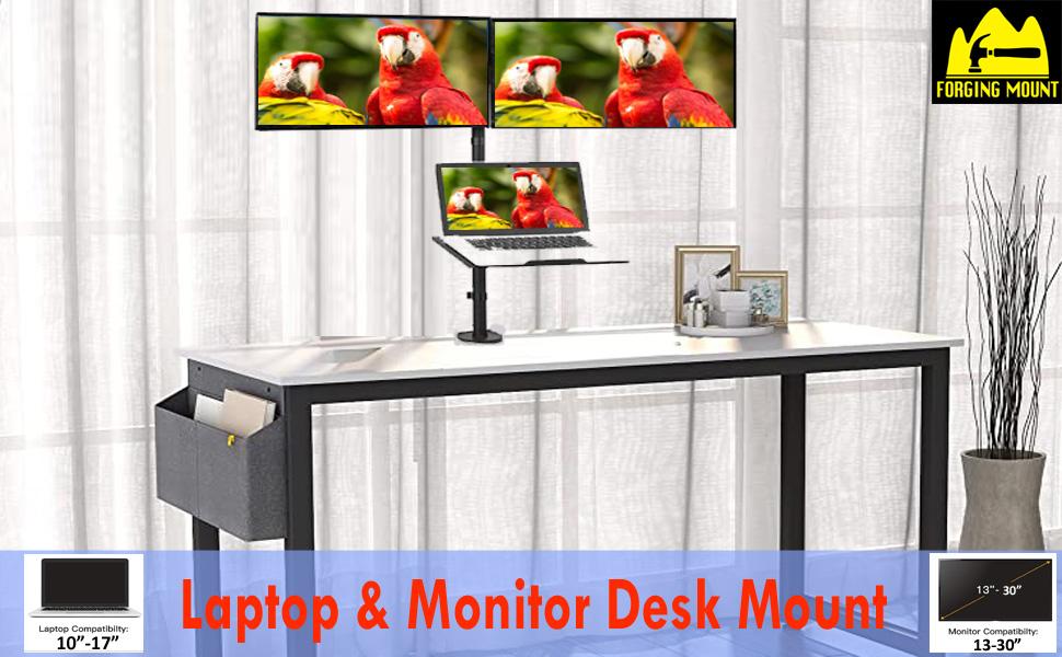 Dual monitor laptop mount