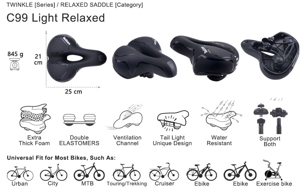 BACKTURE Sillín Bicicleta, Asiento de Bicicleta de Gel Transpirable y Profesional con Dos Amortiguadores, para MTB/Bicicleta de Carretera/ Bicicleta Urbana: Amazon.es: Deportes y aire libre