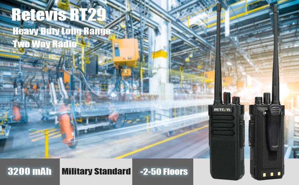Retevis RT29 2 Way Radios Long Range 3200mAh Heavy Duty High Power Durable Anti Fall Encryption Walkie Talkies with Waterproof Speak Mic 4 Pack