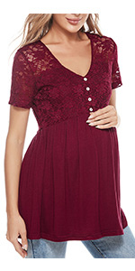 Maternity shirts lace maternity peplum tops pregnancy shirt
