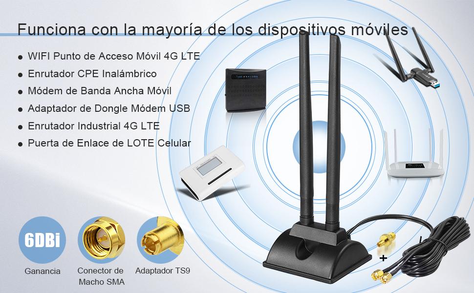Compatible con Enrutador de IoT Industrial Puerta de Enlace Celular Punto de Acceso Enrutador CPE Inal/ámbrico 4G LTE C/ámara de Seguridad para Exteriores 2-Paquete Bingfu Antena 4G LTE 6dBi Macho SMA