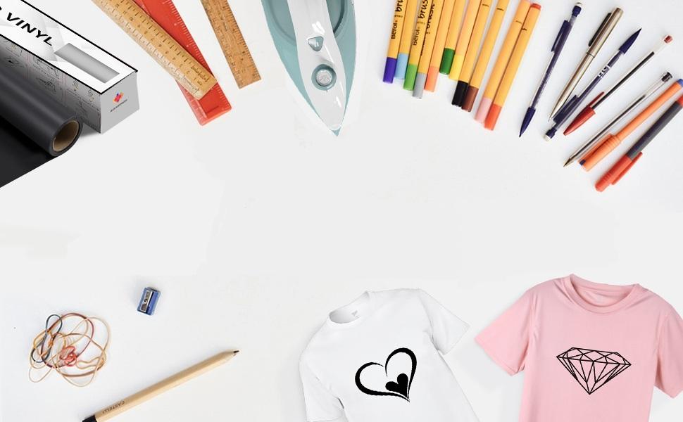 2 Rollo Vinilo de Transferencia de Calor Vinilo de Planchar Papel de Transferencia para DIY Camiseta, Ropa, Sombrero y Otro Textiles, Fácil de Cortar: Amazon.es: Hogar