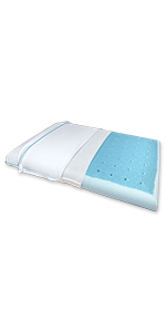 Super Slim Max Cool memory foam pillow with CarbonBlue