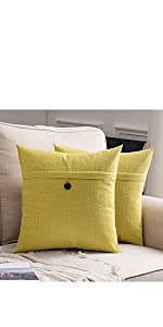 farmhouse linen burlap pillow covers with button yellow green vintage retro decor