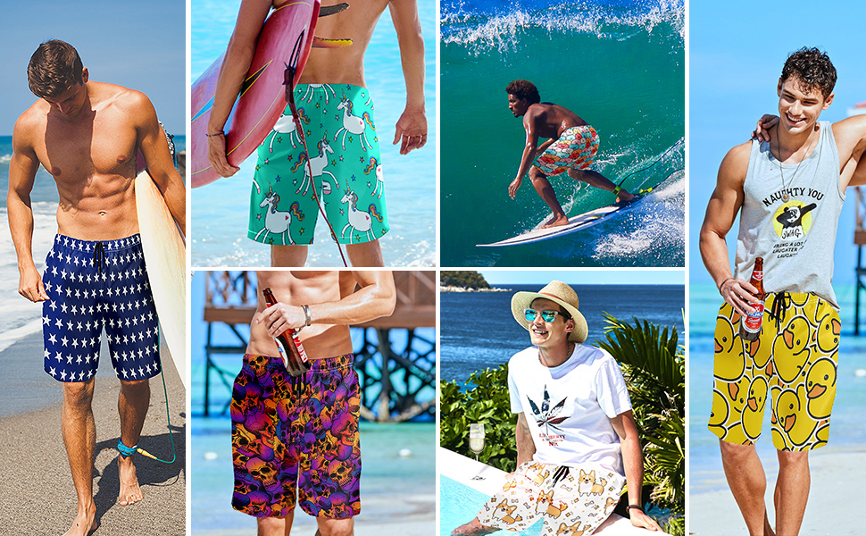 Xihe Fashion Mens Youth Casual Beach Pants Shorts with Pockets Quick Dry Beachwear Swim Trunks Stars and Stripes