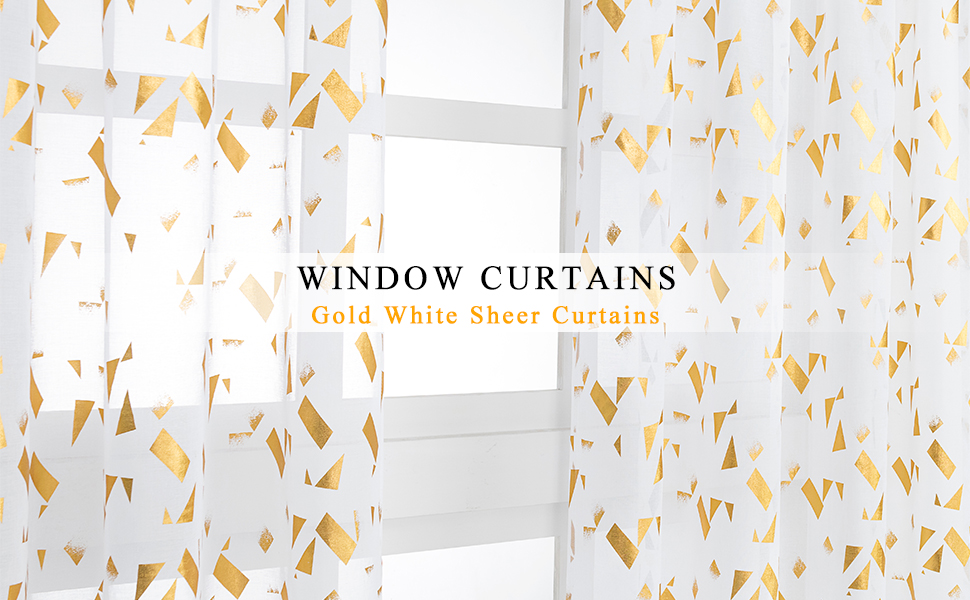 gold confetti white sheer curtains for bedroom