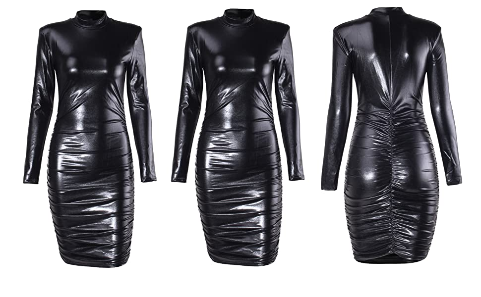 Womens Long Sleeve Dresses Glitter Sexy Ruched Mini Dress with Shoulder Pads Party Club Night Outfit